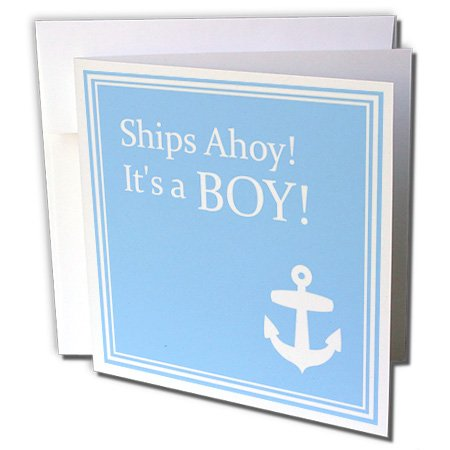Gc_151388_1 Inspirationzstore Occasions - Ships Ahoy Its A Boy - For Baby Showers - Light Powder Blue With White Anchor Sailor Nautical Theme - Greeting Cards-6 Greeting Cards With Envelopes front-59766