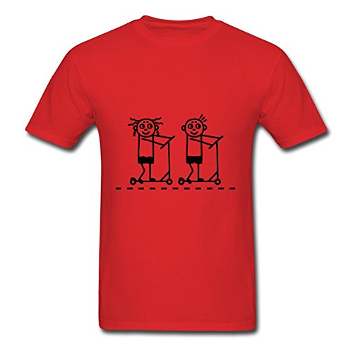 Small Kick Scooter / Board - Girl & Boy T-shirts For Men Cotton O-neck Red