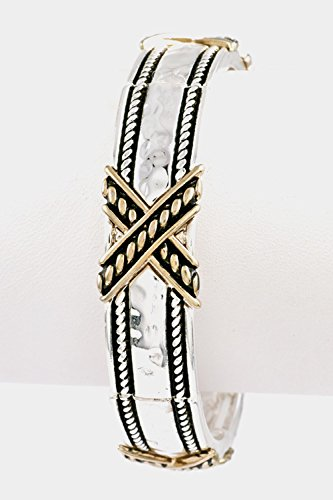 Karmas Canvas Hammered X Shaped Cable Detailed Stretch Bracelet (Two Tone)