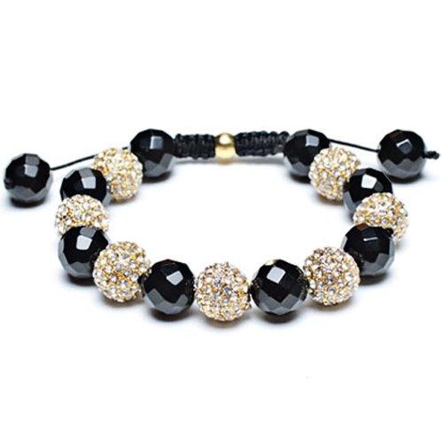 Bling Jewelry Black Onyx Shamballa Bracelet Unisex Swarovski Clear Golden Crystal Beads 12mm