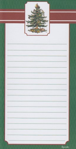Spode Christmas Tree Green Magnetic Refrigerator Grocery Lister To Do List Note Pad front-75845