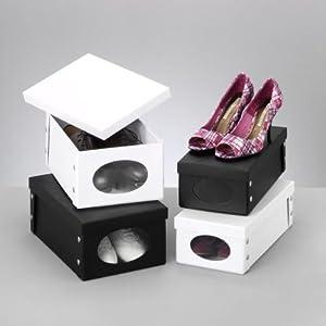aufbewahrungsbox f schuhe box schuhbox schuhkarton schwarz 643 k che haushalt. Black Bedroom Furniture Sets. Home Design Ideas