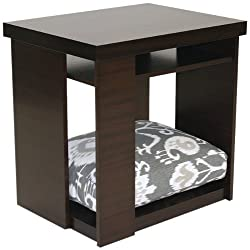 Doggiedasherie End Table with Pet Bed Dark Mahogany