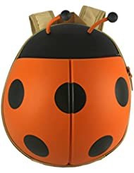 Kids Ladybug Backpack For Girls, Cute And Adorable With Free Drawstring Bag (ORANGE)