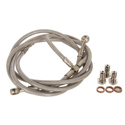 "Tusk Front ATV Steel Braided Brake Line Standard Length +2"" Silver -Fits: Honda TRX 450ER 2006-2009"