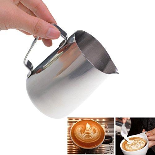 SUMERSHA 350ml Pot à Lait en Acier Inoxydable pour le Café la Mousse de Lait