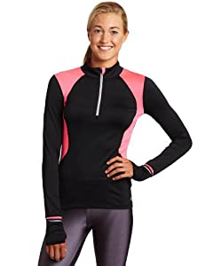 New Balance WRT1303 Women's Long Sleeve Half Zip - Black/Pink, X-Small