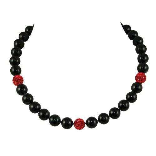 Masquerade Black Serpentine & Red Glitterball Necklace