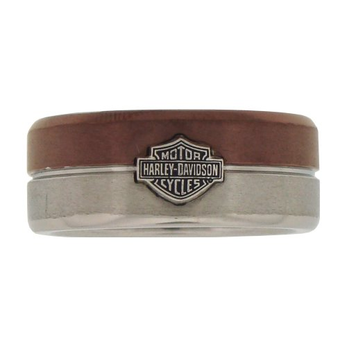 Harley-Davidson® Men's Stamper Black Hills Gold Stainless Steel Raised Bar and Shield Ring. Two Tone. STR6073 (7)