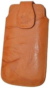 Original Suncase Echt Ledertasche für Sony Xperia sola in wash-orange
