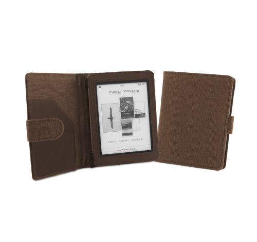 Cover-Up Kobo Mini (5-inch) eReader Natural Hemp Cover Case With Auto Sleep / Wake Function (Book Style) - (Cocoa Brown)