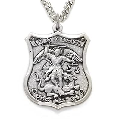 St michael pendant necklace patron saint medal jewelry silver shield engraved st michael medal aloadofball Gallery