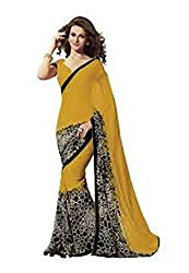 Bansy Fashion Yellow Coloured Georgette Printed Saree