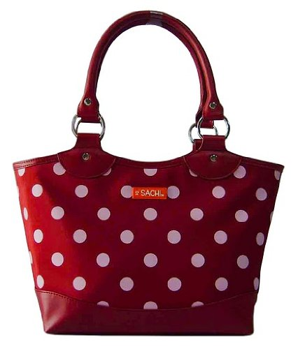 Sachi Fashion Insulated Lunch Bag, Burgundy with White Dots - 1