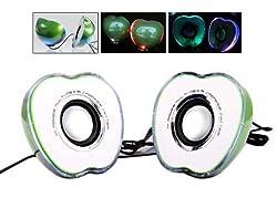 Green Mini Color Changing Led Light Laptop USB Stereo Speaker Amplifier