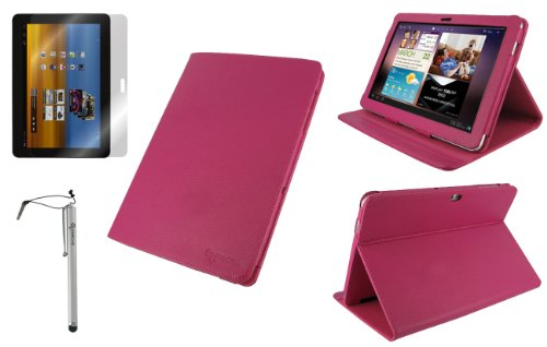 rooCASE 3n1 Multi-Angle (Magenta) Leather Folio Case Cover / Capacitive Stylus / Anti-Glare Screen Protector for Samsung GALAXY Tab 10.1 Wi-Fi (NOT Compatible with Verizon 4G LTE)