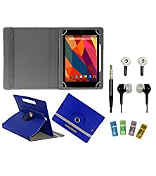 Gadget Decor (TM) PU Leather Rotating 360° Flip Case Cover With Stand For Tescom Bolt 3 + Free Handsfree (Without Mic) + Free USB Card Reader - Dark Blue