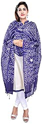 Apratim Womens Cotton blue Bandhani dupatta with mirror work