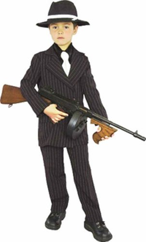 Kid's Mafia Gangster Boy Costume (Size:Med 8-10)