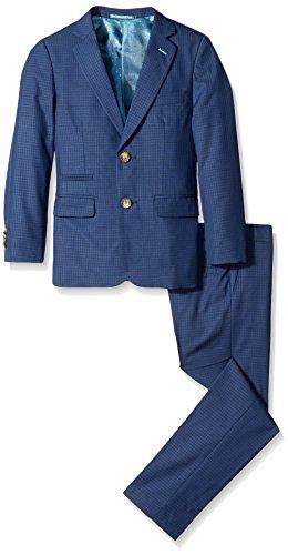 Isaac Mizrahi Big Boys Gingham Check 2 Piece Suit, Navy, 8