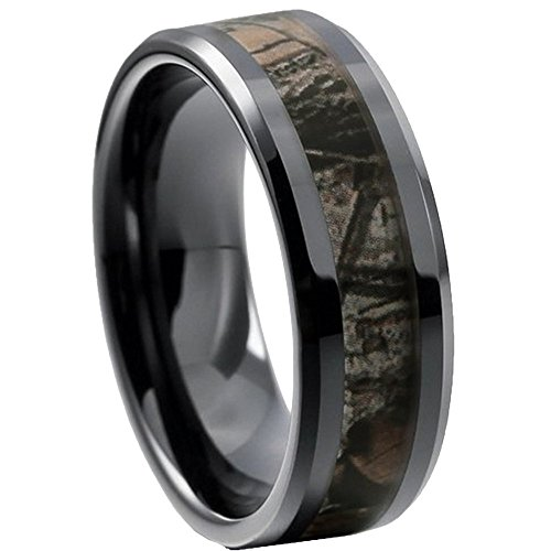 King Will 8mm Mens Black Tungsten Carbide Ring Camo Camouflage Comfort Fit Wedding Band (10) (Camouflage Rings For Men compare prices)