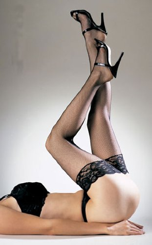 Fishnet Thigh Highs with 3 Inches Lace Top - Black