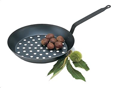 Paderno World Cuisine Black Carbon Steel Chestnut Pan with Oversized Handle, 11IN