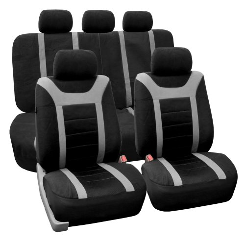 Fh-Fb070115 Sports Fabric Seat Covers, Airbag Compatible And Split Bench, Gray / Black