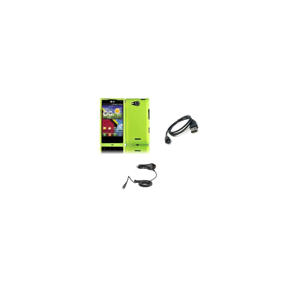 LG Lucid (Verizon) Premium Combo Pack   Neon Green Hard Shield Case Cover + Car Charger + Micro USB Data Cable + FREE Zombeez Key Tag