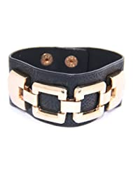 Beautiful Sporty Leather Look Black & Golden Theme Unisex Adjustable Wrist Band From Lazreena