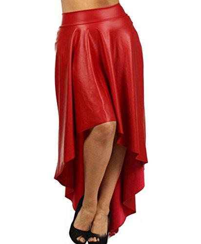 BININBOX® Damen unregelmäßigen Kunstleder Lederrock Kleid Tellerrock Minikleid Cocktailkleid Party Rock Herbst Winterrock skirt (32-40=Etikett Gr.L, Rot)