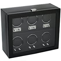 Wolf Designs Module 2.1 Heritage 6 Piece Watch Winder with Cover, Black