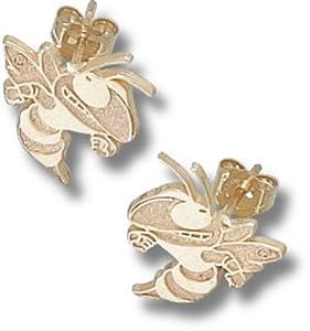 Georgia Tech Yellow Jackets 3 8 Buzz Post Earrings - 14KT Gold Jewelry by Logo Art