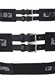 Yoursclothing Womens Double Buckle Stretch Waist Belt With Lace Detail