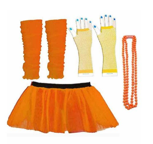 Four Peice Adult Neon Orange Tutu Set 8-14 Tutu Legwarmers Fishnet Gloves Beads 80s Fancy Dress Costume (RB