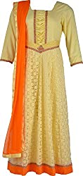 ZARASBOUTIQUE Women's Net Chudidar (SKW122915945_Small, Yellow, Small)