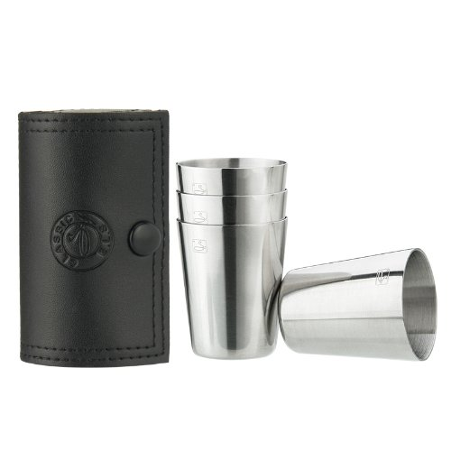 Savage 18/8 Stainless Steel Shot Glasses With Black Leather Case,1.2Oz,Set Of 4 Rm-B03-01