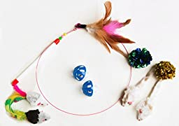Feather Wand with Interactive Cat Toy Grab Bag of Mylar Balls Bell Ball Furry Mice 9 Piece Set