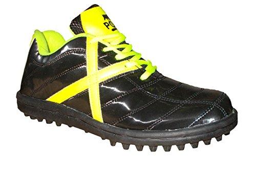 Port Mens Striker Black PU Cricket Shoes (Size 9 ind/uk)