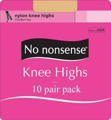 No-Nonsense Knee High Sandfoot Nude 10-count (3-Pack)