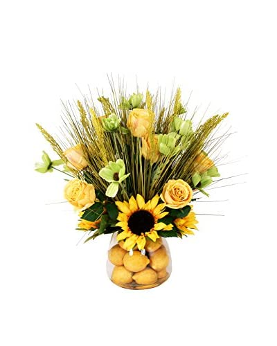 Creative Displays Inc. Poppy and Roses Lemon Pot, Yellow/Green