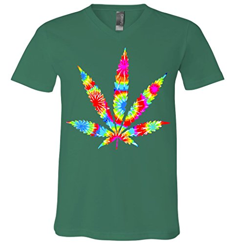 V-Neck T-Shirt: Tie Dyed Weed Symbol