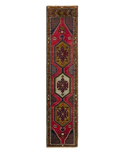 Hand-Knotted Caucasus Kula Wool Rug, Dark Yellow/Dark Red, 2' 5 x 10' 11 Runner