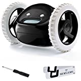 Newlemo Cute Alarm Clock Funny Hide and Seek Alarm Clock Runaway Alarm Clock on Wheels Alarm Clock for Heavy Sleepers (Black)