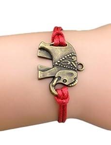 Armband Unendlichkeit Elefant , gewachstes Band Bronze Rot / Infinity / besser Lederband / anhänger / One Direction