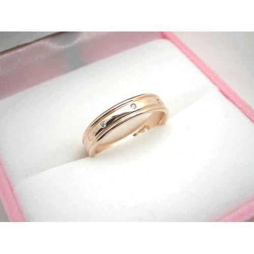 ダイヤモンド リング 指輪 ring スリーストーン トリロジー ケース付き 4月 誕生石 【ピンクゴールドタイプ・10号】