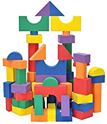 Non-Toxic 100 Piece Non-Recycled Quality foam Wonder Blocks for Children w/ Carry Totes: Waterproof,