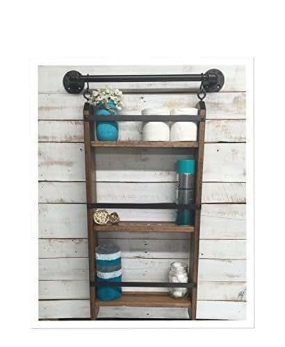Bathroom ladder shelf rustic bathroom shelf for Bathroom ladder shelf
