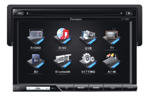 Farenheit Ti-710B 1-Din Multimedia Source Unit With Detachable Hang Down 7-Inch Lcd Touch Screen And Bluetooth V2.0