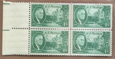Stamps US Roosevelt and Hyde Park Home Sc930 MNHVF Block